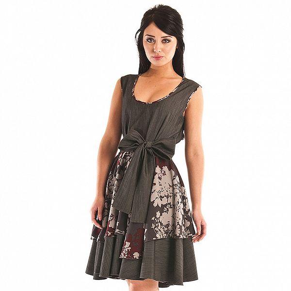 Dámské šedivé šaty Jolaby s květinovým vzorem