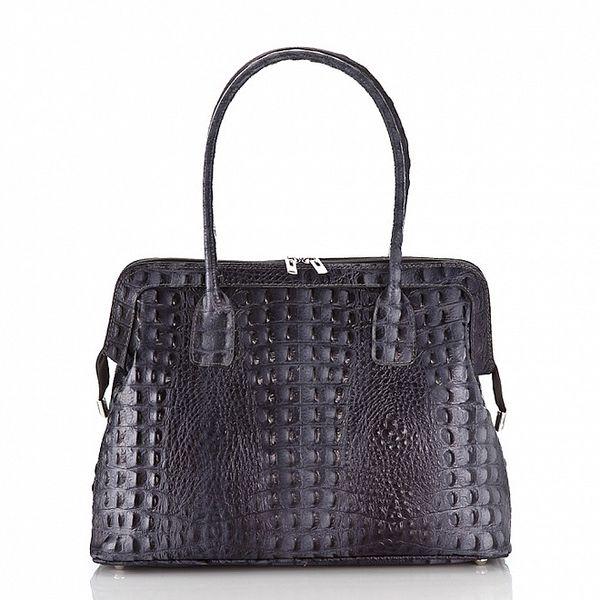 Dámská ocelově šedá kožená kabelka Ore 10 s krokodílým vzorem