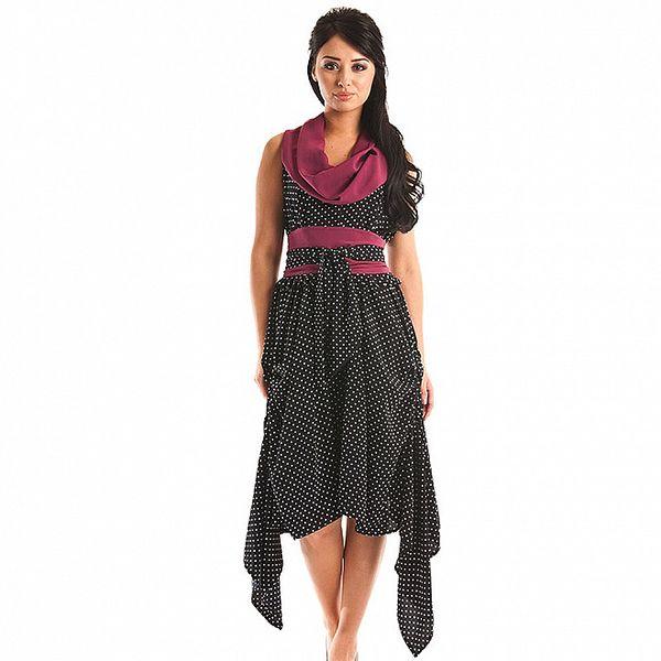 Dámske tmavo modré bodkované šaty Jolaby s fialovým rolákom
