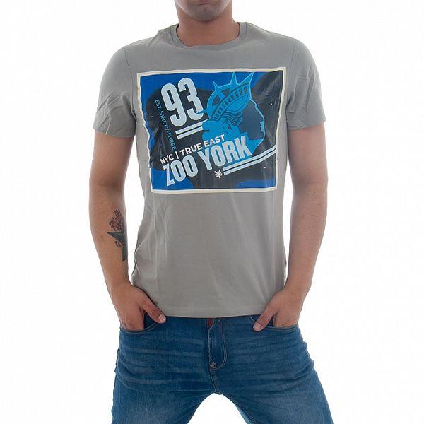 Pánske šedivé tričko Zoo York s modrou potlačou
