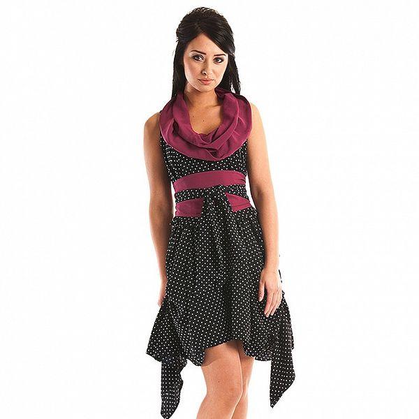 Dámske krátke tmavé modré bodkované šaty Jolaby s fialovým rolákom