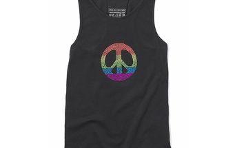 Černé tričko ve stylu hippies
