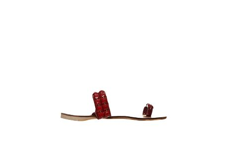 Dámske vínovo červené šľapky s hranatými korálkami Yook for you
