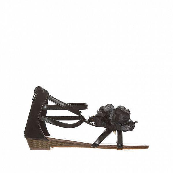 Dámske čierne pásikové sandálky s kvetinou Yook for you