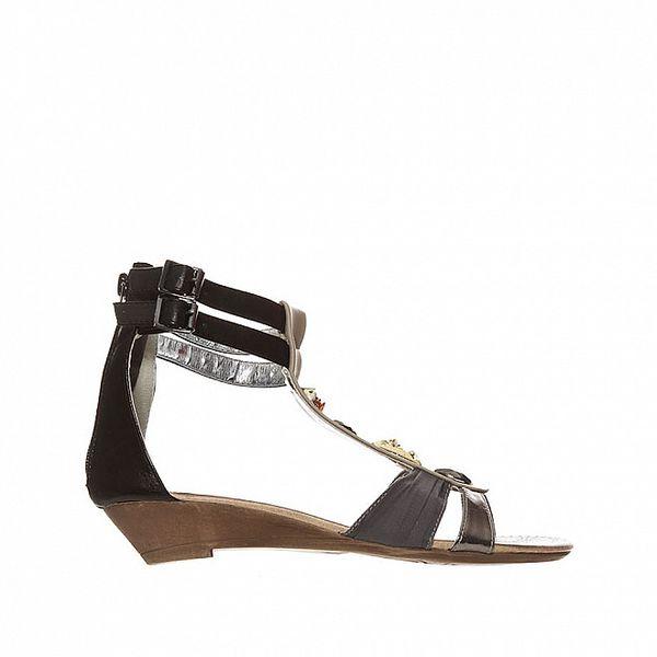 Dámske šedo-čierne sandálky so zlatými kamienkami Yook for you