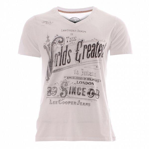 Pánské bílé triko s šedým potiskem Lee Cooper