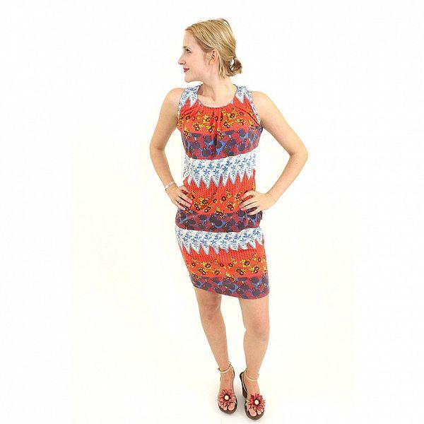 Dámske oranžovo-modré šaty Superstition s kvetinovým vzorom