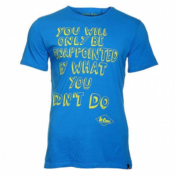 Pánské zářivě modré tričko Lee Cooper se žlutým potiskem