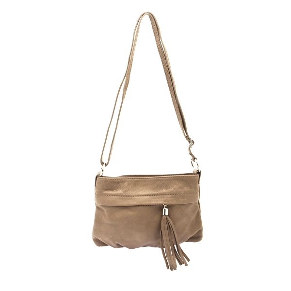 Dámska šedo-béžová kabelka so strapcom Free for Humanity