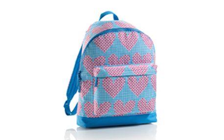 Velký batoh Srdíčka - polstrovaná záda, zesílená spodní část, povrch - PVC