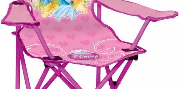 JOHN Skládací židlička Princezny - kovová konstrukce je vyplněna odolným látkovým materiálem.