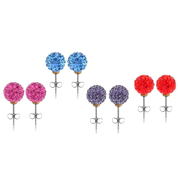 Elegantné náušnice SHAMBA v tvare guličky s kamienkami v 4 farebných prevedeniach, ktoré Vám perfektne sadnú!
