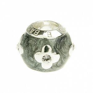 Dámský šedostříbrný smaltovaný korálek s květinami Bacio