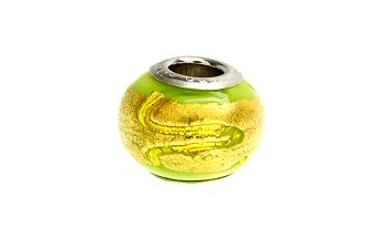Dámský zelený korálek Bacio se zlatou spirálou