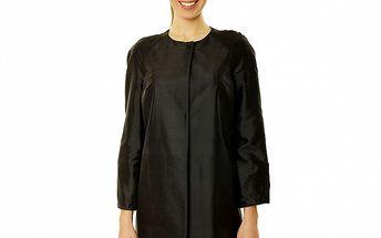 Dámský černý hedvábný kabátek s 3/4 rukávy Roberto Verino