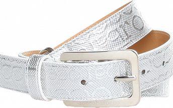 Dámský bílý pásek se stříbrnými sponami Roccobarocco