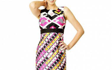 Dámské barevné šaty s geometrickým vzorem Roberto Verino