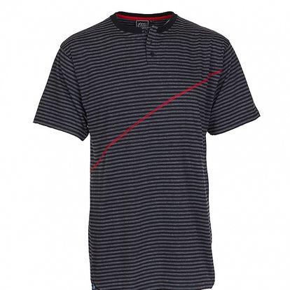 Pánské tmavě šedé proužkované tričko Chico s červeným švem