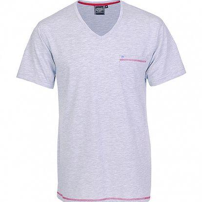 Pánské světle šedé melírované tričko Chico s červeným švem