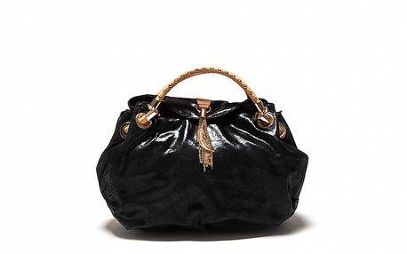 Dámská černá metalická kožená kabelka