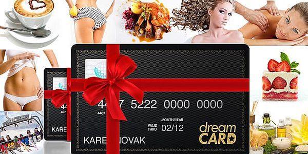 Kouzelná karta DreamCARD, která je nabitá slevami 10 – 50% a jinými výhodami u téměř 1000 známých partnerů. Roztočte slevy ve velkém!