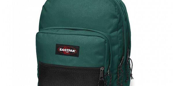 Tmavě zelený městský batoh Eastpak s černou síťkou
