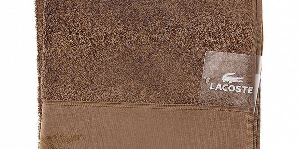 Větší hnědý bavlněný ručník Lacoste