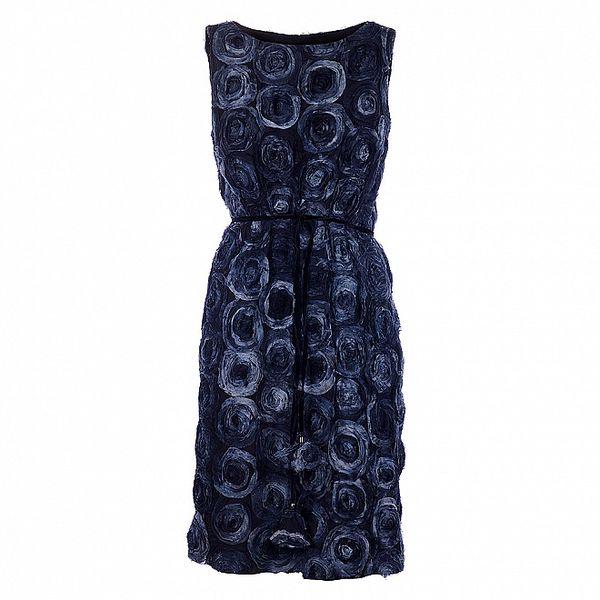 Dámské temně modré koktejlové šaty Pietro Filipi s růžemi