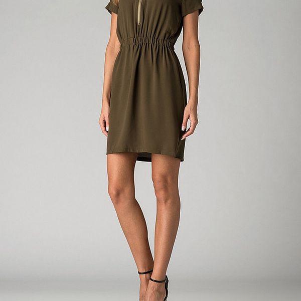 Dámské olivově zelené šaty By Zoé se zipem