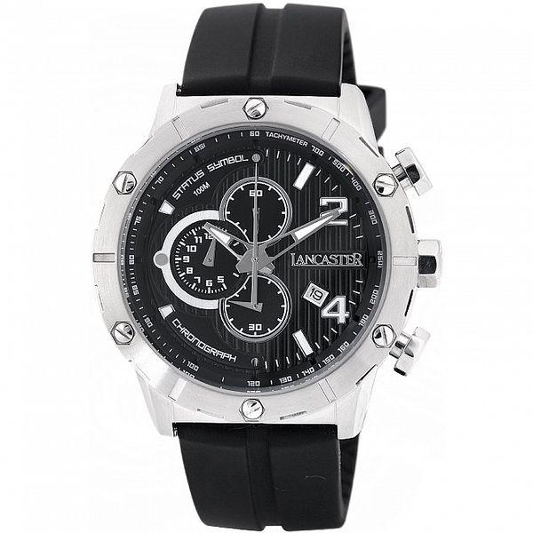 Pánské stříbrno-černé hodinky Lancaster s černým silikonovým řemínkem