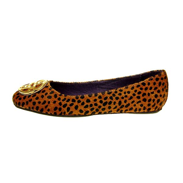 Dámské hnědé leopardí baleríny Hope se zlatou sponou