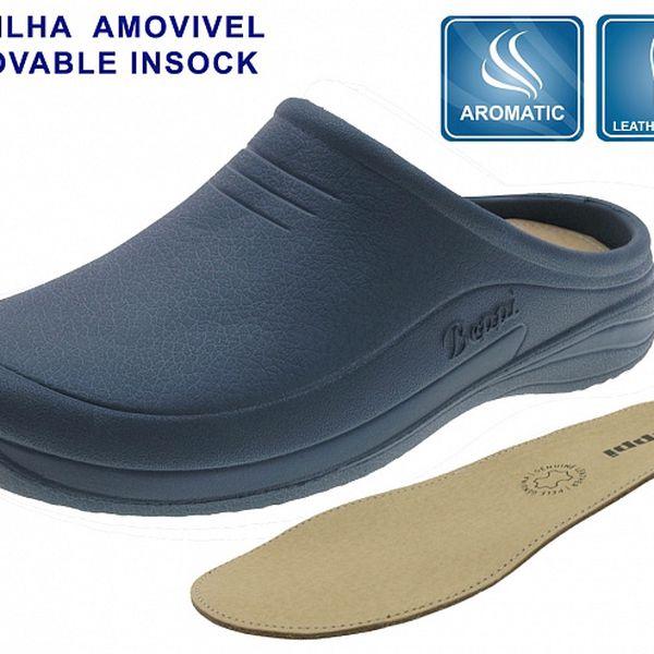Dámské tmavě modré gumové pantofle Beppi s koženou stélkou