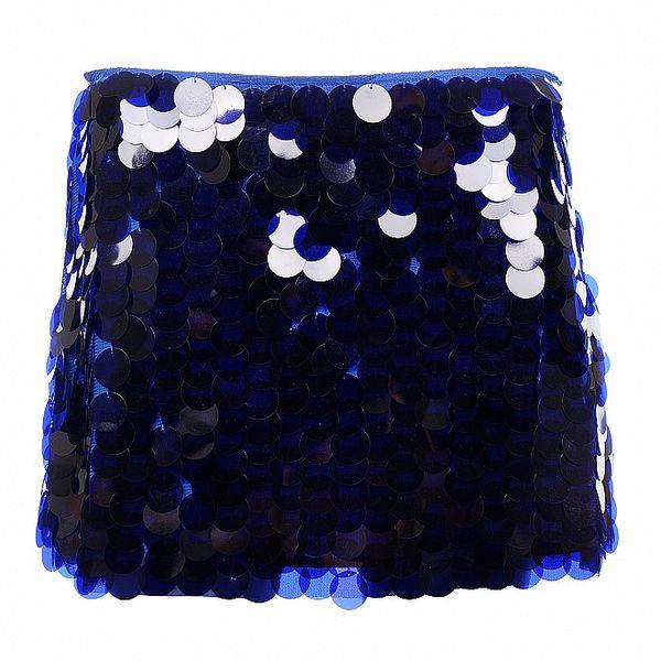 Dámská modrá minisukně s velkými flitry