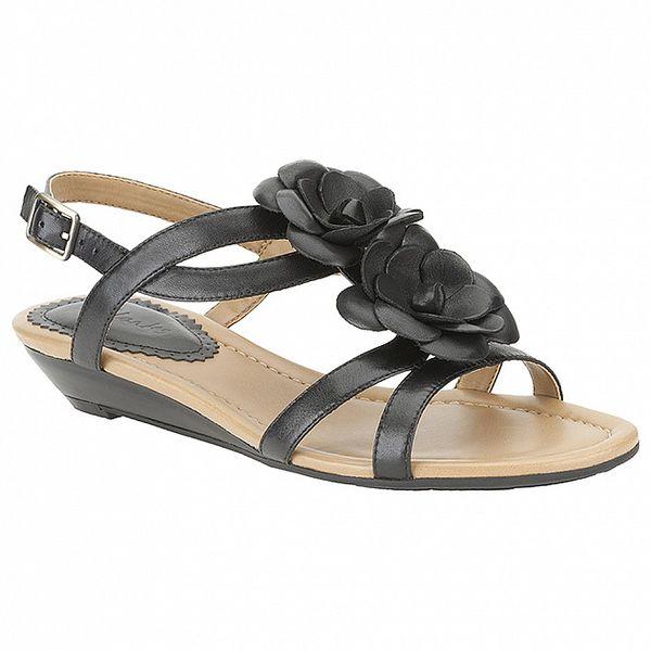 Dámské černé sandálky s květinou Clarks