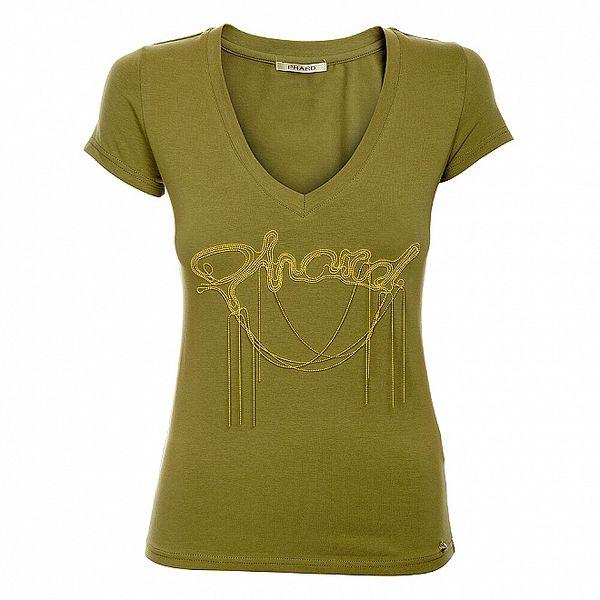 Dámské khaki tričko Phard se zlatou aplikací
