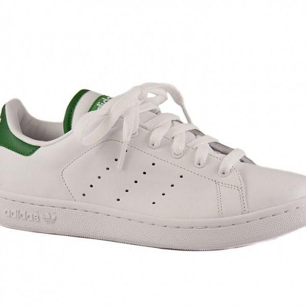 Dámské bílé kožené tenisky Adidas se zelenými detaily