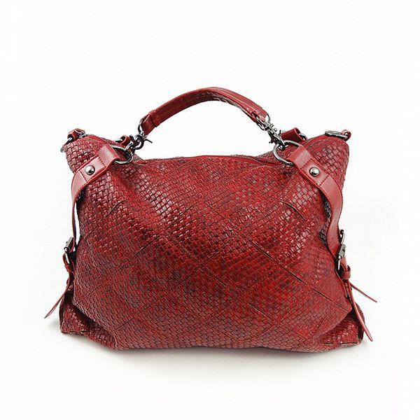 Dámská červená proplétaná kabelka Hippyssidy
