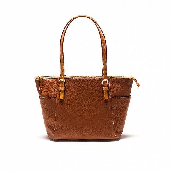 Dámska koňakovo hnedá kožená kabelka Sonia Ricci