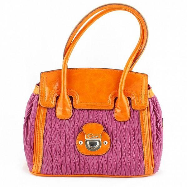 Dámská růžová kabelka Guess s oranžovými detaily