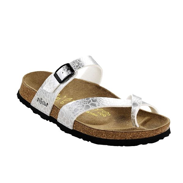 Dámské stříbrné pantofle Papillio