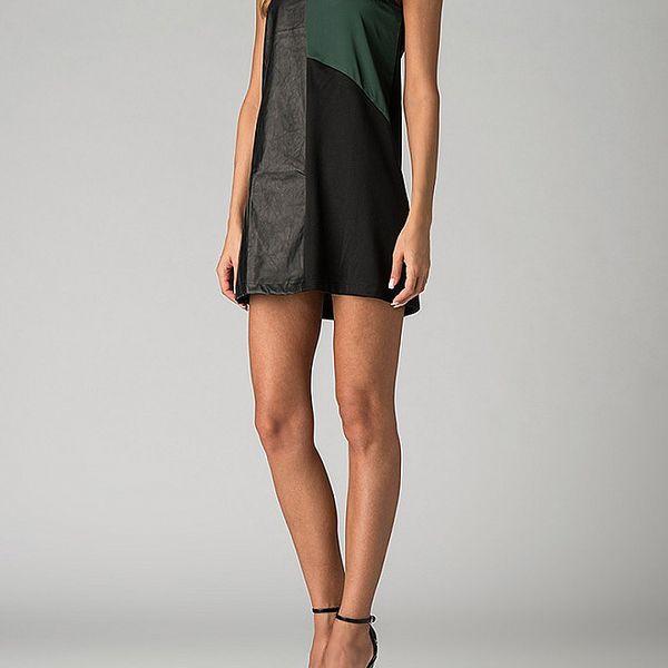 Dámské černo-zelené mini šaty By Zoé