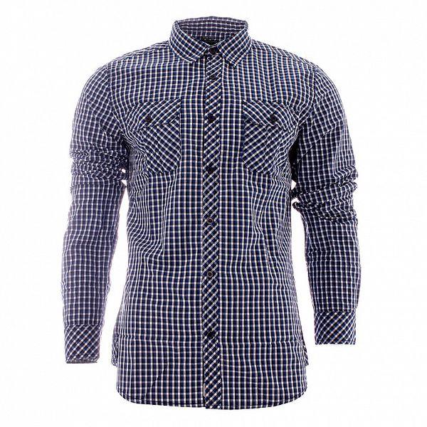 Pánska modro-biela kockovaná košeľa Lee Cooper