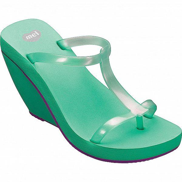 Dámské mintové sandály Mel na vysokém klínu