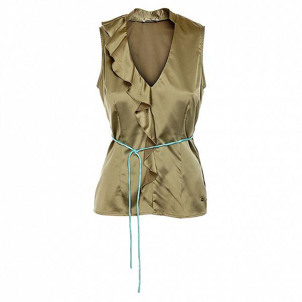 Dámský khaki top s tyrkysovým páskem Phard