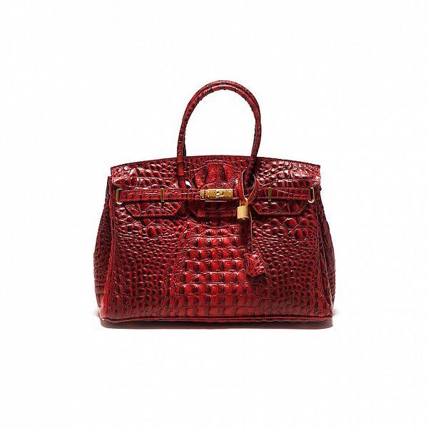Dámská tmavě červená krokodýlí kabelka Sonia Ricci