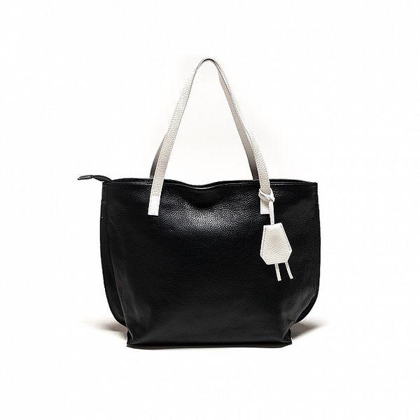 Dámská černo-bílá kožená kabelka Sonia Ricci