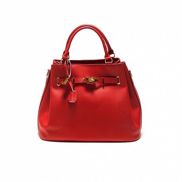 Dámská červená kožrná kabelka se zlatým zámečkem Sonia Ricci