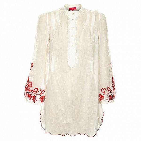 Dámská bílá košile s folklórním vzorem Phard
