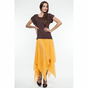 Dámské hnědo-oranžové šaty se šněrováním na zádech Renata Biassi