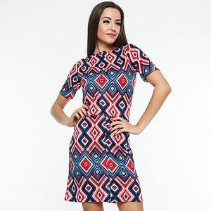 Dámské modro-červené šaty s kosočtvercovým vzorem Renata Biassi